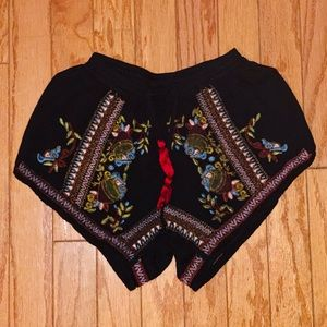 Pants - Embroidered Gypsy Boho Shorts